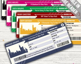 Surprise Trip To New York (Surprise Trip Boarding Pass Template). Six Colors. Editable. Instant Download.