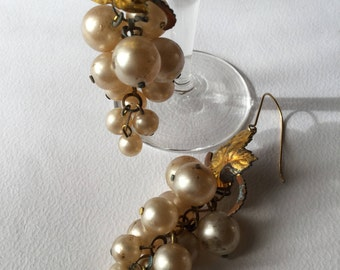 1920 gilt metal pearl grapes art nouveau jewels, earrings, wedding jewels