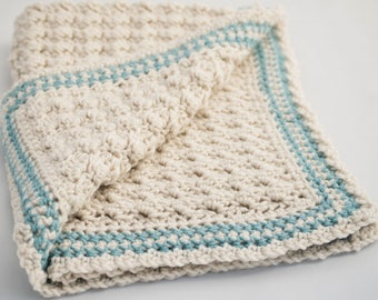 Blue & White Baby Blanket - Small Crochet Car Seat Cover in Sea Blue and Linen - Off White Receiving Blanket - Baby Shower Gift - Crib Cover