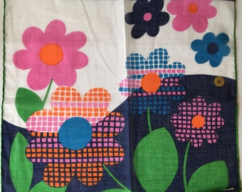 Kreier 100% Cotton Handkerchief - Retro Flowers - New and Unused From Vintage 1970 Stock