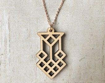 Honeycomb Necklace | Lasercut, Wood, Maple, Wood Cut, Rose Gold, Bees, Honey, Beekeeper, Diamonds, Triangles, Geometric, Tribal, Dainty