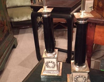 Antique pair of columns table lamps