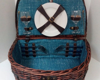 Vintage Picnic Plus Wicker Dishes Glasses Silverware for Two Picnic Basket