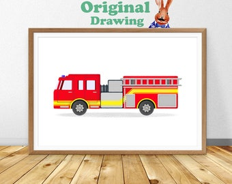 Fire truck printable  Etsy