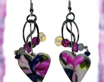 Earrings hearts, roses, violetettes ღ...  ღ / unique Pieces!