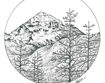 Mountain circle illustration / art print / A5 and A4 size