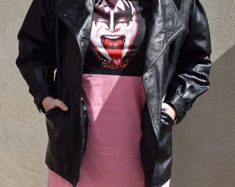 Vintage black leather jacket, size large