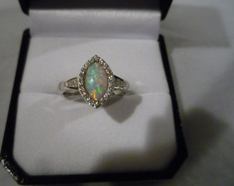 Silver Opal Ring,