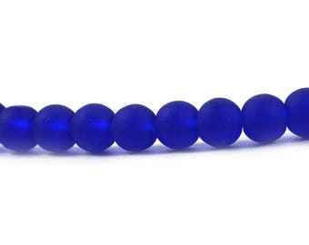 Recycled Cultured Sea Glass Round Beads Cobalt Royal Bright Blue Matte 6mm