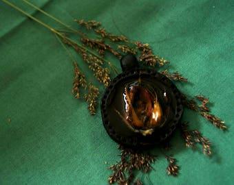 pressed rose bud pendant