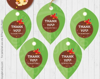 JUNGLE TAGS, Jungle Birthday Favor Tag, Jungle Thank YouTag, Jungle Decoration | Instant Download. Edit Text in Adobe Reader.