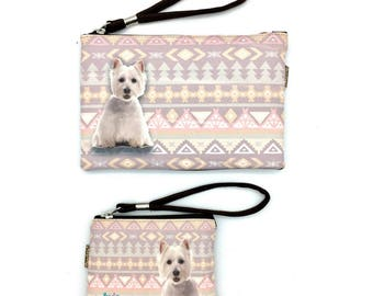 West Highland White Terrier, Westie dog Pouche & Coin Purse, Dog Lovers, Wristlet Pouch