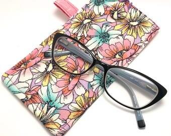 Glasses Case/ Sunglasses Case - Flowers Pink