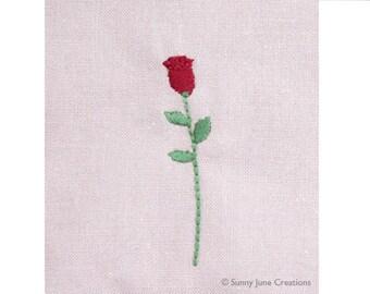 Machine embroidered pattern design rose - instant download
