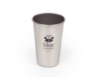 16 oz Stainless Steel Pint Glass - Custom Engraved - Great For Company Logos, Monograms, Sayings - Free Engraving