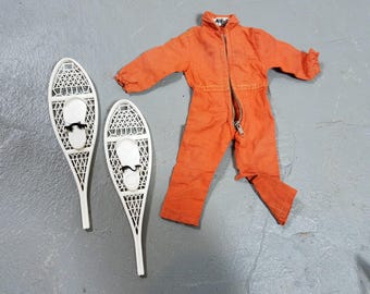 "Vintage 1960's G.I. Joe Orange Jumpsuit Hasbro Hong Kong Snow shoes 60s toys 12"" action figure accessories"