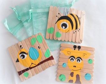 Kids puzzles, puzzles giraffe bee bird puzzles in wood, set of 3 painted puzzles, puzzles handmade puzzle wooden sticks