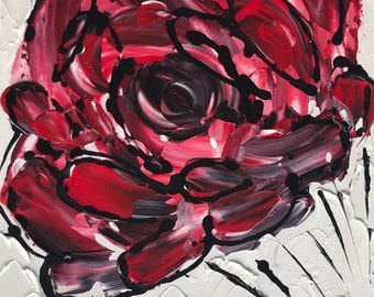 """Abstract Rose In Acrylic """"9X12"""" Canvas Board 