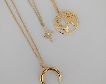 pole star gold necklace - minimal jewelry-Necklace Pole Star With Brilliant -North Star Necklace - Polaris Necklace