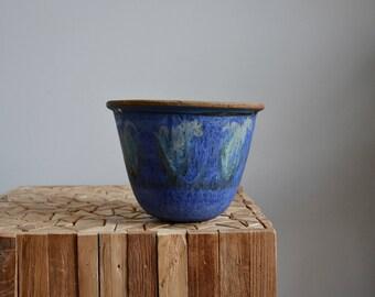 Studio Pottery Hanging Planter // Vintage Drip Glazed Pottery Planter // Hanging Pottery Planter // BOHO Bohemian Jungalow Decor Planter