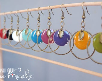 Enamelled sequin bronze circle and pendant choice of color earrings retro vintage