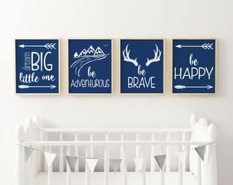 Nursery Wall Art, Set of 4 Prints, Be Happy, Be Brave, Navy Nursery Decor, Printable Wall Art, INSTANT DOWNLOAD, Nursery Print, 8x10, 11x14