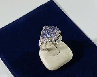18 mm Ring 925 silver crystals Blue Stainless SR1021