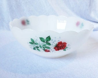 Vintage Arcopal France Bowl Red Roses Vintage Arcopal China Arcopal Red Roses Dish  Red Rose Milkglass Bowl Milk Glass Dish