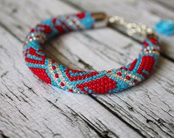 Sky blue red silver geometric pattern seed beads spiral seed bead rope beaded bracelet beaded jewelry beadweaving beadwork bead spiral cord