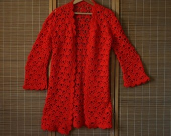Bright Red Crochet Sweater