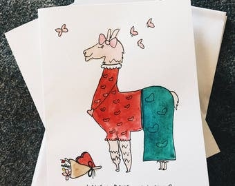 valentine lovey dovey llama handmade watercolor greeting card