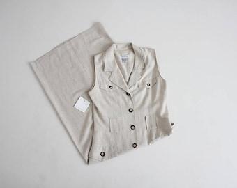 button down maxi dress | 90s dress | beige linen dress