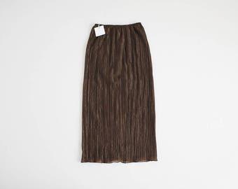 metallic bronze skirt | crinkle skirt | 90s midi skirt