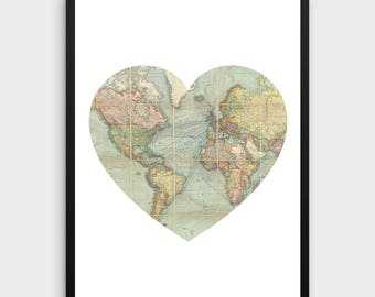 Printable Hello World Heart Vintage World Map Kid Playroom - World map for playroom