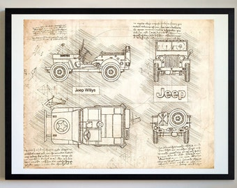 Willys Jeep Poster Etsy