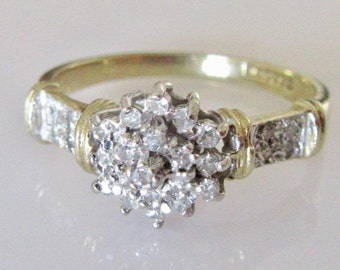 9ct Gold Diamond 0.25ct Cluster Ring Size O