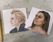 Hillary Clinton and Michelle Obama Note Cards, Clinton and Obama Cards, Clinton and Obama Stationery, Strong Women Leaders Note Cards