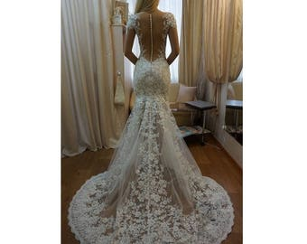 Lace wedding dress etsy mermaid lace wedding dress sexy backless sleeves transparent bare skin effect beach wedding dress tulle floral junglespirit Choice Image