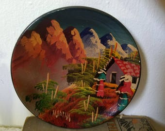 Hand-Painted Decorative Plate / Colorful Painted from Ecuador