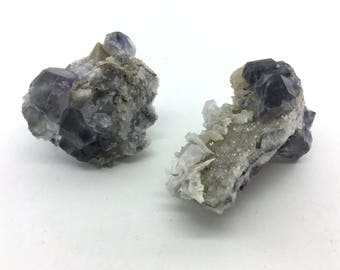 Two Green & Purple Fluorite Crystal Cluster on Druzy Quartz for Intuition, Cellular Healing, and Relaxation
