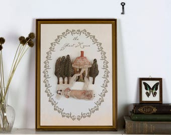 The Ghost House - Giclée Print - Folklore Illustration, art print, witchy print, textile art, fairy tale, dreamy wall art, by Pantovola