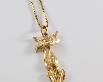 10K Gold Cat Necklace