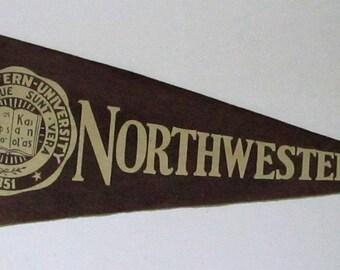 "Vintage Northwestern University Felt Pennant Sports Banner 28"" Football Pep NW College Illinois"