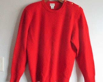 Vintage 1980s Neiman Marcus Red Cashmere Sweater Gold Buttons Anchor Nautical Theme Shoulder Pads Size Large Womens Ladies