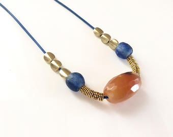 Agate necklace/ African bead necklace/ Summer necklace/ Ethnic necklace/ Leather necklace/ Blue necklace/ Ladies gift