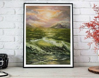 Ocean painting Seascape Gift|for|wife Birthday gifts|for|her oil painting art original Mediterranean Mountains Green painting Sea painting