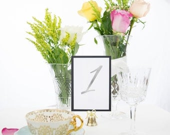Silver Foil White and Black Table Numbers Handmade Wedding, Also Available in Gold, Copper, and Rose Gold Foil