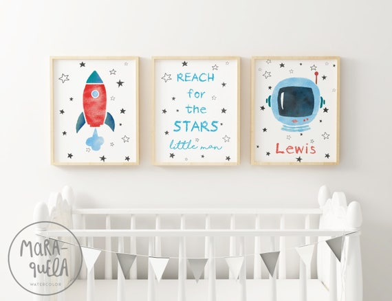 Set ASTRONAUT, ROCKET and White Stars SKY illustrations