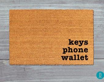 Keys Phone Wallet Doormat, Keys Phone Wallet Door Mat, Keys Phone Wallet Welcome Mat, Reminder Doormat, Reminder Door Mat, Reminder Mat