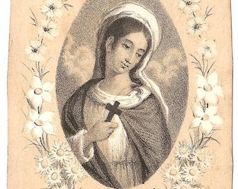 St. Marguerite Antique French Catholic Holy Prayer Card, Engraving, Devotional Ephemera